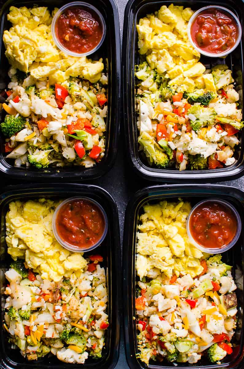 Healthy Breakfast Meal Prep with broccoli, cauliflower, bell pepper, eggs, salsa and whole grain toast for protein packed and veggie loaded breakfast on the go.