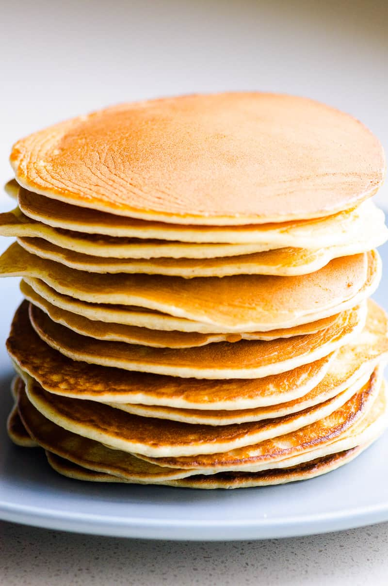 Simple Protein Pancakes Recipe with oats, whey protein powder, Greek yogurt, and without banana. Moist, packed with protein, 5 ingredients, no blender.