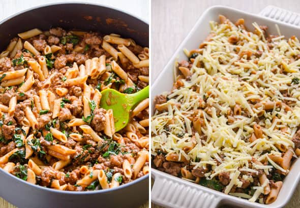 Turkey Pasta Bake is a casserole recipe made healthy with ground turkey, whole wheat pasta, kale or spinach, and tomato sauce. | ifoodreal.com