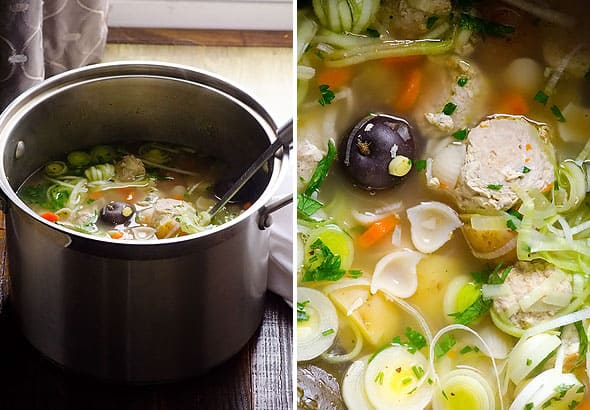 Turkey Meatball Soup Recipe with pasta and vegetables is super easy to make and is healthy. | ifoodreal.com