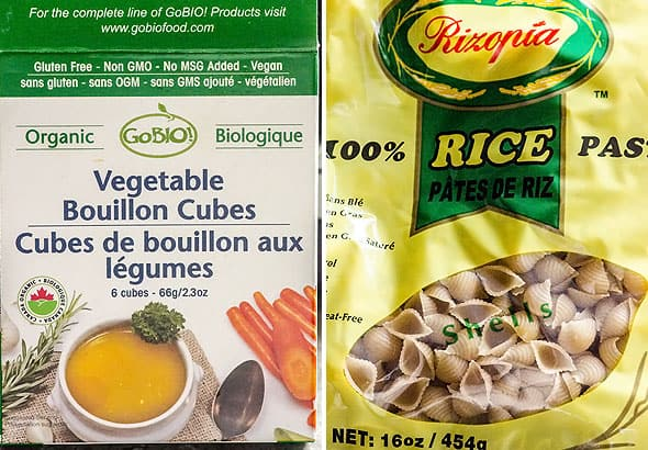 bouillon cubes and sea shell shaped pasta