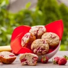 Whole Wheat Strawberry Banana Protein Muffins
