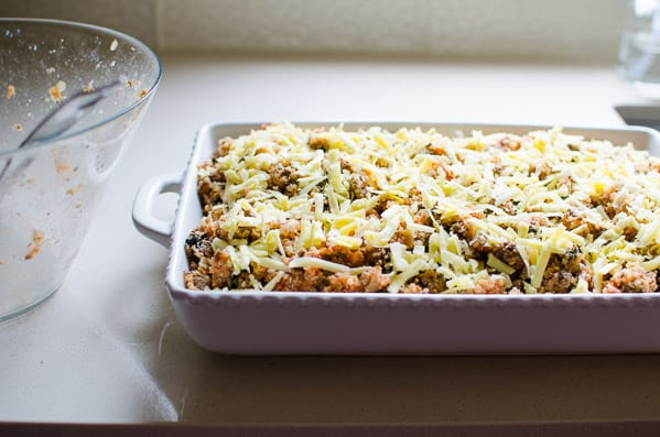 Ground Turkey Quinoa Casserole made healthy and juicy with spinach, ground turkey, tomato sauce, breadcrumbs and cheese. What a budget friendly crowd pleaser!   ifoodreal.com