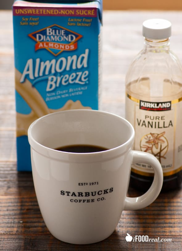 Healthy Iced Coffee Recipe with almond milk, sugar free, low calorie, and much cheaper and healthier than Starbucks. | ifoodreal.com