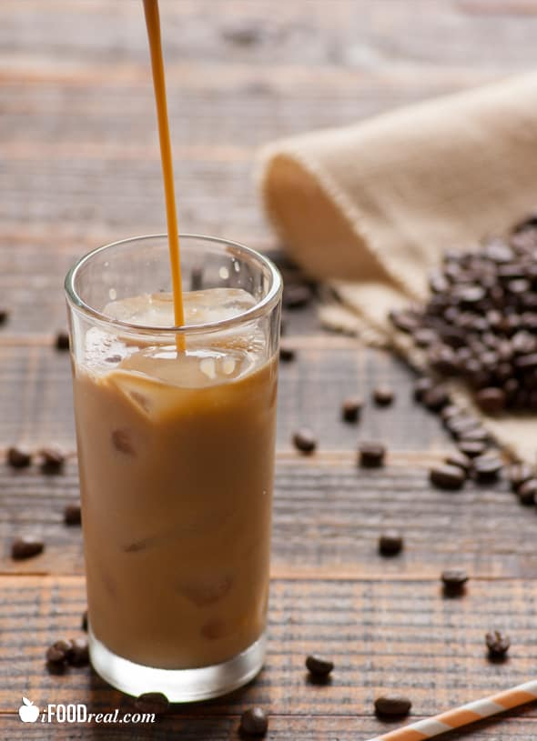 Healthy Iced Coffee Recipe made with no added sugar and dairy free with almond milk. Only 27 calories. Much cheaper and healthier than Starbucks. | ifoodreal.com