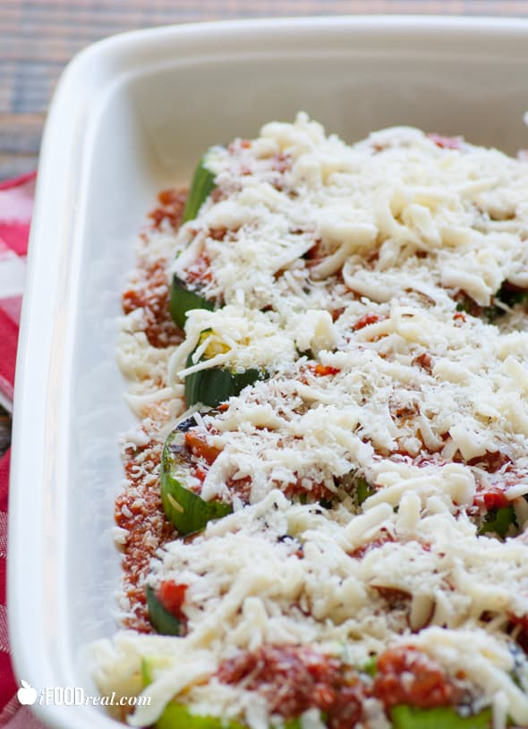 Light Zucchini Parmigiana Recipe made healthy with layers of grilled zucchini and homemade balsamic tomato sauce.   ifoodreal.com