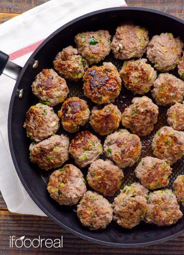 Thai Turkey Meatballs Recipe with zucchini, ground turkey, coconut milk, red curry paste, fish sauce and no breadcrumbs. Rave reviews from EVERYONE! | ifoodreal.com