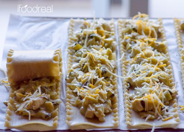 Chicken Lasagna Roll Ups Recipe made healthy with whole wheat or brown rice pasta and artichokes, is fun to make with kids and makes fancy budget dinner. | ifoodreal.com