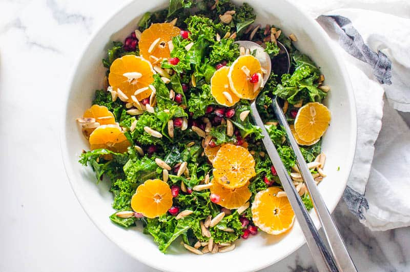 Massaged Kale Salad with mandarins and pomegranate