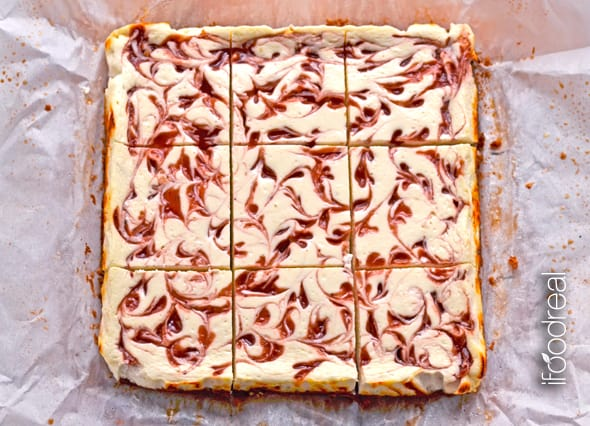 Healthy Strawberry Cheesecake Bars Recipe with Greek yogurt, pecan crust and only 4 tbsp of agave per entire recipe. | ifoodreal.com