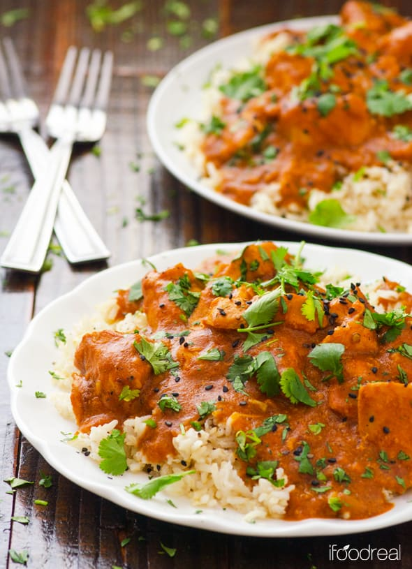 Healthy Crockpot Butter Chicken is Indian slow cooker recipe made healthy with coconut milk, tomato sauce and spices. | ifoodreal.com