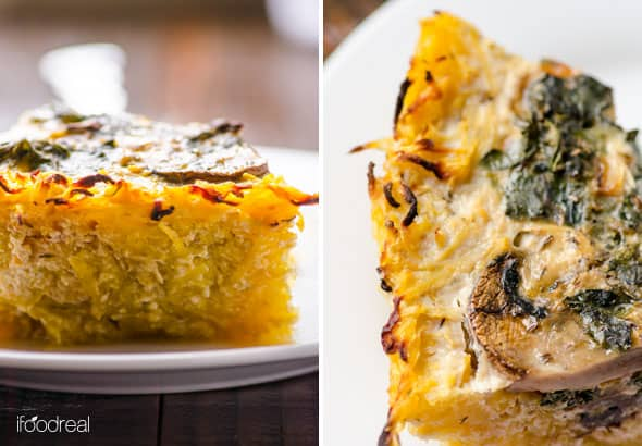 Kale and Mushroom Spaghetti Squash Quiche Recipe is healthy and gluten free quiche with spaghetti squash crust. No flour and this quiche holds together. | ifoodreal.com
