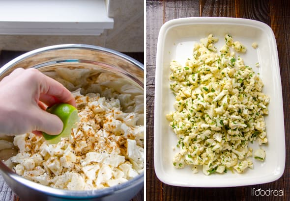 Squeezing lime into bowl of cauliflower and spices. Spreading into casserole dish.