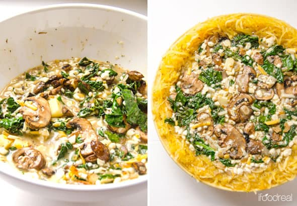 making Spaghetti Squash Quiche with Kale and Mushrooms