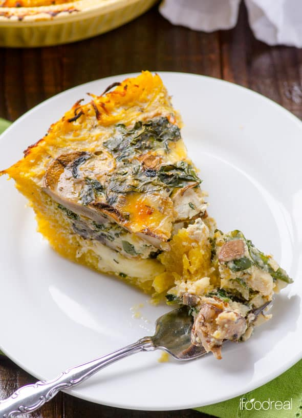 Spaghetti Squash Quiche with Kale and Mushrooms