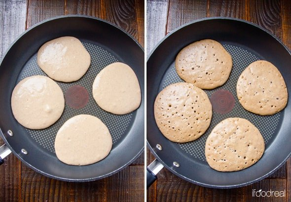Cooking Cottage Cheese Protein Pancakes  on skillet