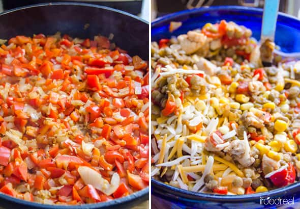 Santa Fe Chicken and Lentil Casserole ingredients in skillet and adding cheese