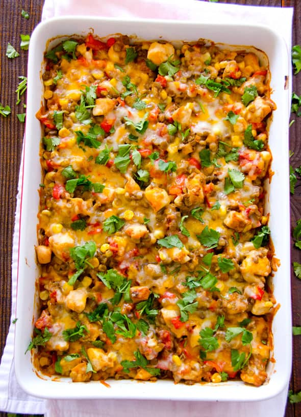 Santa Fe Chicken and Lentil Casserole with corn, green lentils, chicken, cayenne, cilantro and cheesy lentils baked healthy and kid approved. | ifoodreal.com