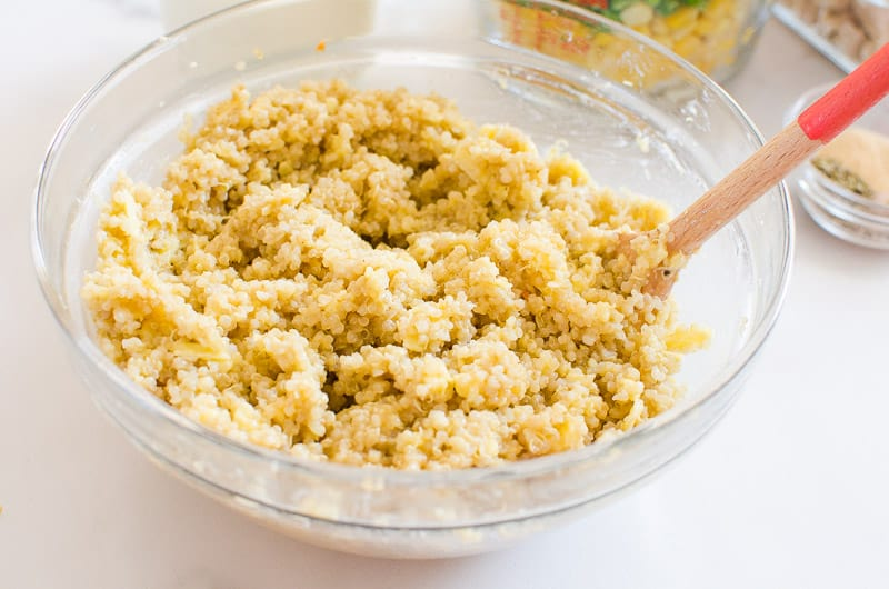 quinoa crust mixed in a bowl