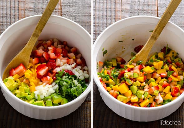 unmixed Strawberry Mango Salsa ingredients in a bowl; mixed ingredients