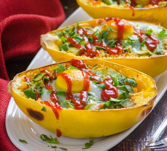 Avocado and Egg Spaghetti Squash Boats Recipe