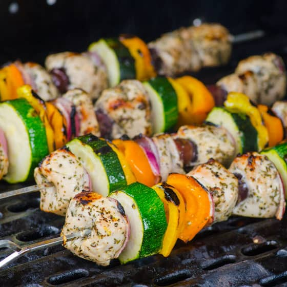 Greek Style Chicken Kebabs Recipe - iFOODreal | Delicious Clean Eating ...