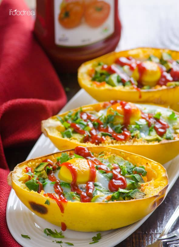 Avocado and Egg Spaghetti Squash Boats Recipe -- 5 ingredient healthy, vegetarian and gluten free breakfast for dinner. | ifoodreal.com