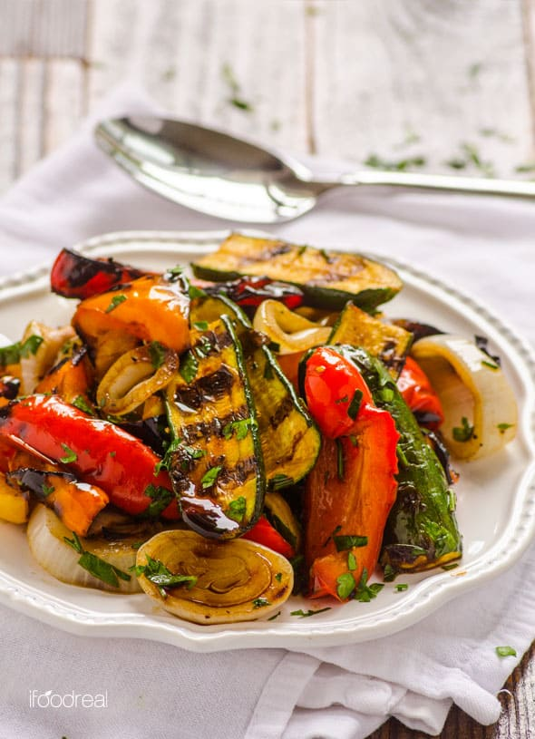 Grilled Balsamic Vegetables is a sure crowd pleaser at any temperature, even better the next day. No marinating required and use any firm vegetables like zucchini and bell peppers. | ifoodreal.com