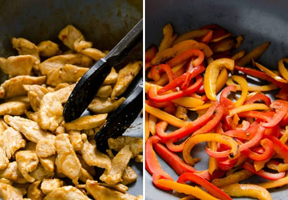 cooking chicken on skillet; cooking bell peppers on skillet