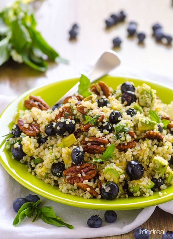 Blueberry Quinoa Salad on green plate