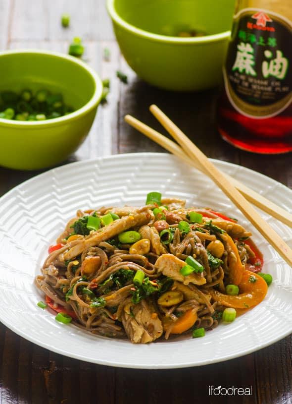 Peanut Chicken Soba Noodles served on white plate with chopsticks
