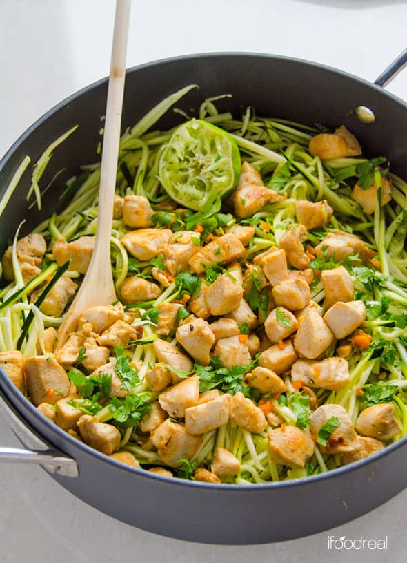 Zucchini Noodles with Chicken, Cilantro and Lime is delicious 20 minute, healthy and gluten free dinner idea. If you don't have a spiralizer, just chop zucchini.