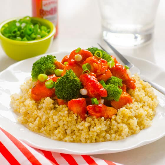 Buffalo Chicken Quinoa with Broccoli
