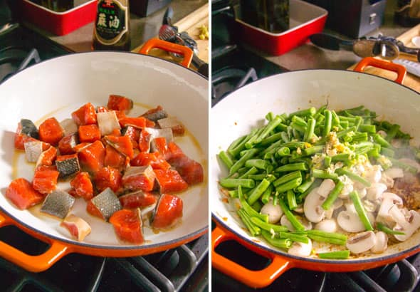 Asian Green Beans and Salmon Stir Fry is healthy 20 minute skillet recipe the whole family will love plus high in protein and low in carbs. | ifoodreal.com