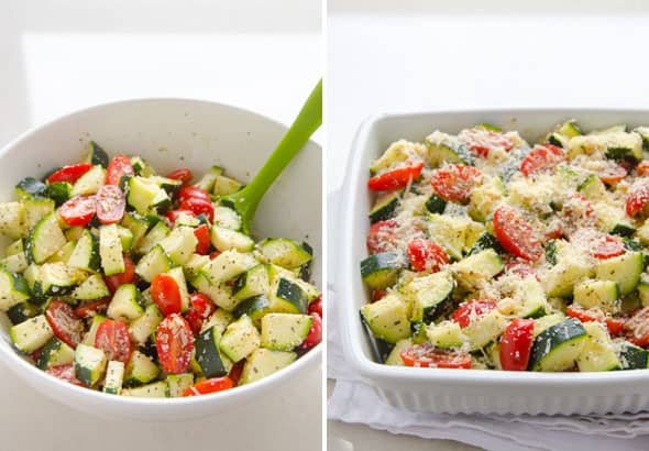 Garlic Parmesan Zucchini and Tomato Bake is quick and healthy dinner recipe. 5 minutes of prep time and dinner is served! Zucchini bake with parmesan cheese, tomatoes and garlic to the rescue! | ifoodreal.com