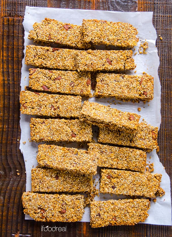 Quinoa Granola Bars on parchment paper