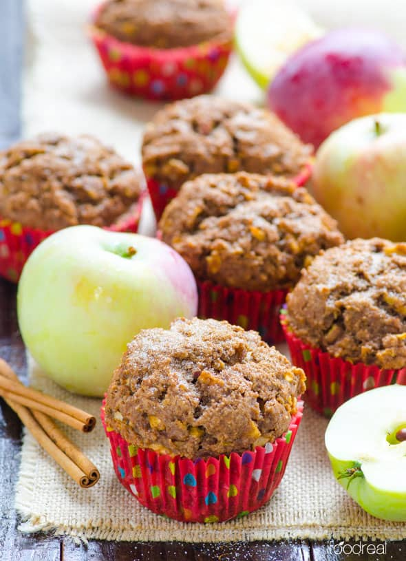 Healthy Apple Muffins with applesauce, whole wheat flour and no sugar.
