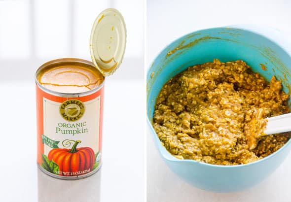 Can of pureed pumpkin, ingredients mixed in blue bowl