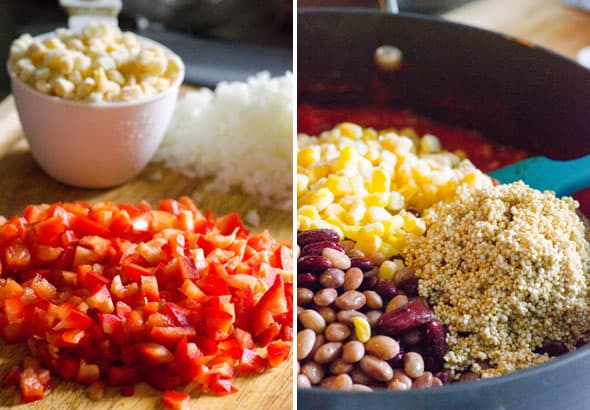 Easy Quinoa Chili is a vegetarian recipe, as hearty as its meat alternative, made with quinoa, beans, pepper and corn, on stovetop or in a slow cooker. | ifoodreal.com