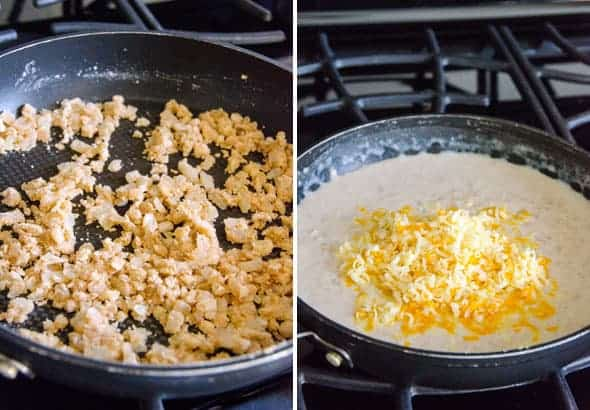 Skillets with onions, garlic, cheese, milk
