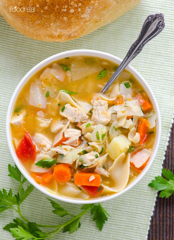 Chicken Noodle Vegetable Soup in a bowl