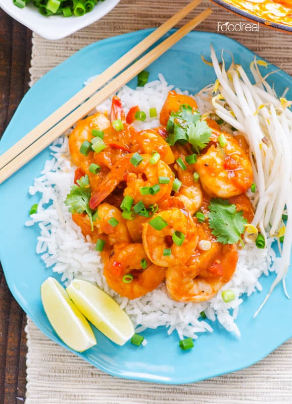 Thai Shrimp Curry with coconut milk, butternut squash, red curry paste is a healthy and easy dinner recipe. | ifoodreal.com