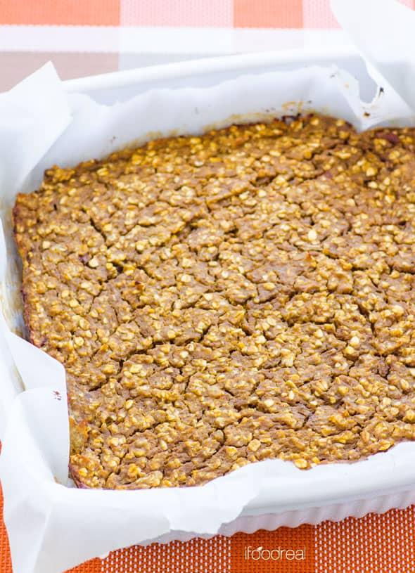 Pumpkin Protein Oat Bars in a pan