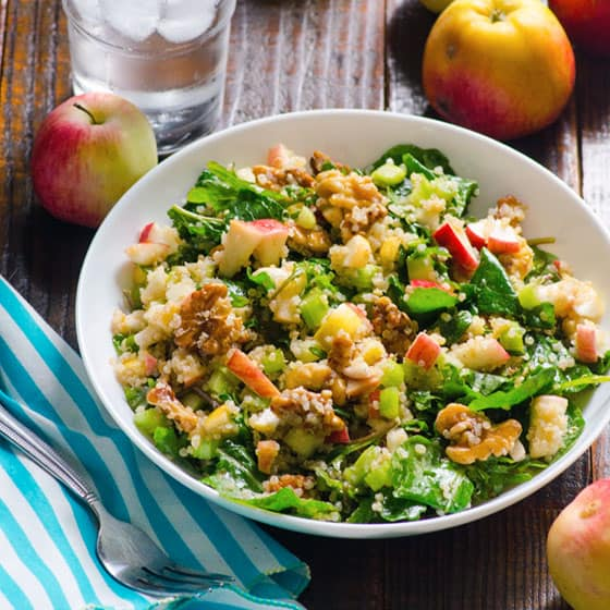 Cinnamon Apple and Walnut Kale Quinoa Salad