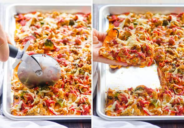 Sweet Potato Pizza being cut with pizza cutter; holding a slice of sweet potato pizza