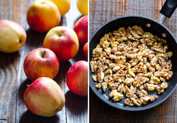 apples and toasted walnuts for autumn kale and quinoa salad