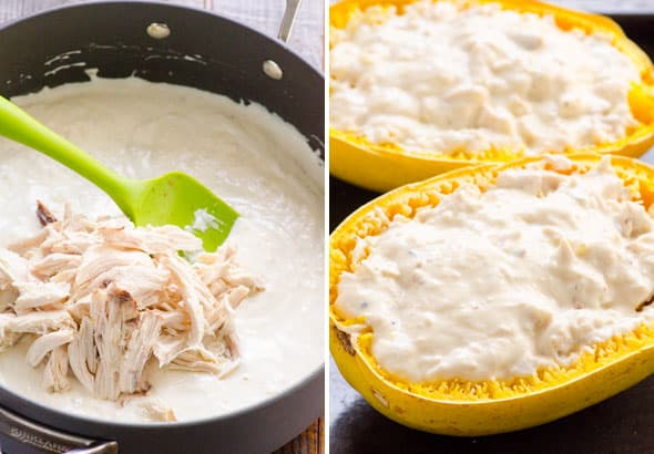 shredded chicken in alfredo sauce in deep skillet; spaghetti squash filled with alfredo sauce