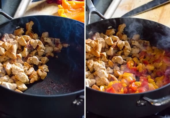 Cooked chicken in skillet; cooked chicken and bell peppers in skillet
