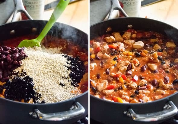One Pan Quinoa Chicken Chili Recipe made healthy with chicken breasts, black beans and quinoa. Everything cooks in one skillet in 45 minutes. | ifoodreal.com
