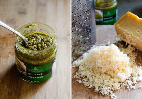 premade pesto and parmesan cheese for healthy veggie pasta